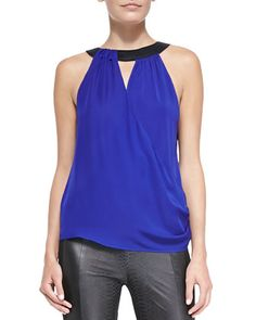 Lane Sleeveless Silk Blouse by Ramy Brook (ideas for leather pants)