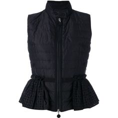 Moncler padded peplum gilet (26 225 UAH) ❤ liked on Polyvore featuring outerwear, vests, black, feather vest, embroidered vest, moncler, moncler vest and striped vest