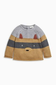 Baby Clothes Online in New Zealand - EziBuy NZ Next Ginger Fox Knitted Jumper Record of Knitting Yarn rotating, weaving and sewing jobs such as BC. Baby Knitting Patterns, Knitting For Kids, Knitting Yarn, Fashion Kids, Crochet Baby, Knit Crochet, Tricot Baby, Pull Bebe, Baby Clothes Online