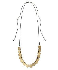 Gold Flouria Black Thread Coin Necklace