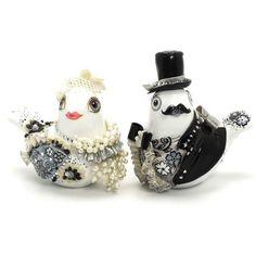 http://www.goodiemud.com  Black and White Love Birds Wedding Cake Topper.