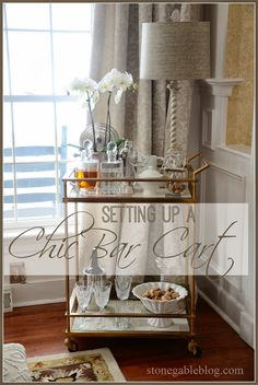 SETTING UP A CHIC BAR CART | I've always wanted a bar cart. I think they are so chic! They have that James Bond, devil-may-care, joie de vivre attitude about them. They are cool and sophisticated and can be used for anything from hot chocolate bars to martini bars… |
