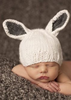 """""""Bailey"""" Bunny White with Gray Knit Baby Hat EASTER MUST HAVE!"""