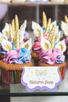 Take a look at this magical unicorn 1st birthday party! The cupcakes are so cute! See more party ideas and share yours at CatchMyParty.com #catchmyparty #partyideas #unicorns #unicornparty #girl1stbirthdayparty #cupcakes