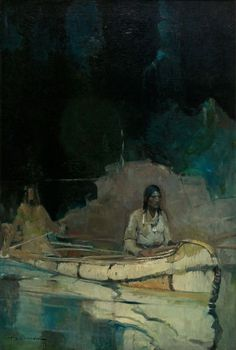 """"""" Indian with Squaw in Canoe"""".   1927. (by Frank Earle Schoonover)."""