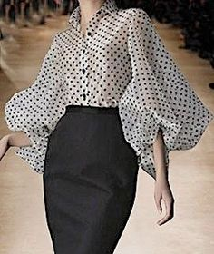 Shop White Lapel Polka Dot Print Puff Sleeve Chic Women Sheer Shirt from choies…. – 2020 Fashions Womens and Man's Trends 2020 Jewelry trends Outfit Online, Latest Fashion For Women, Womens Fashion, Daily Fashion, Fashion Fashion, High Fashion, Fashion Jewelry, Sheer Shirt, Mode Hijab