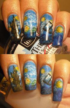 Starry Night TARDIS nails