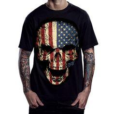 """Men's """"American Skull"""" Tee by 2K2BT (Black) #InkedShop #skull #AmericanFlag #America #top #tee #mens"""