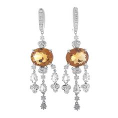 Pre-owned 18K White Gold Diamond & Citrine Chandelier Earrings ($1,904) ❤ liked on Polyvore featuring jewelry, earrings, white gold diamond jewelry, diamond chandelier earrings, white gold chandelier earrings, glitter earrings and white gold earrings