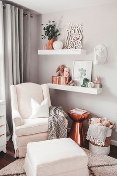 Project Nursery - Nursing Nook in Neutral Girls Nursery with Copper Accents - Project Nursery - Baby Nursery Today Baby Bedroom, Baby Room Decor, Nursery Room, Babies Nursery, Bedroom Wall, Baby Girl Nursery Decor, Boho Nursery, Nursery Wall Decor, Woodland Nursery