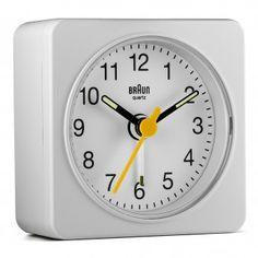 BNC019 Classic Travel Alarm Clock - White