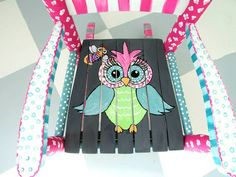 Hand Painted Child Rocking Chair with an Owl Theme by MollieBurd