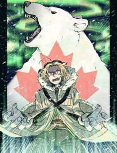 He's either summoning the spirit of Nanuq or turning into a bear and I'm not quite sure which is scarier--------> Meh. The only thing we can figure out is that Canada is pissed af. Hetalia Funny, Hetalia Fanart, Hetalia Characters, Canada, History Class, Axis Powers, Scary, Fangirl, Fandoms