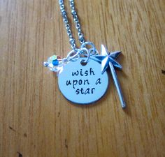"""Pinocchio Inspired Necklace. Jiminy Cricket """"Wish Upon A Star"""" Necklace.  Swarovski Elements crystal for women or girls. Hand stamped. by WithLoveFromOC (item: 201510231630)"""