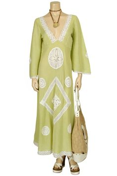 LOLITA JACA  Light Green Kaftan with Crochet Details