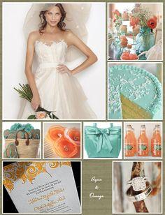 Inspiration Board: Aqua & Orange @Christine Rezabek The orange *almost* looks coral-y :)