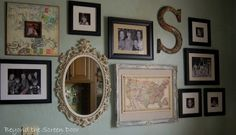 great wall gallery - family photos, vintage map, mirror