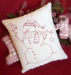 Primitive Redwork Snowman Pillow. $15.00, via Etsy.