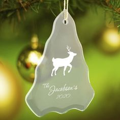 Personalized Beveled Glass Ornament – Tree Shape – Personalized Gifts
