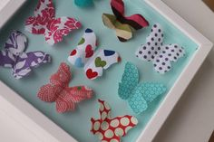 Butterfly Wall Art « Sew,Mama,Sew! Blog I like this concept. Would put my mom's handmade paper flowers,