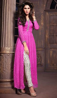 Captivate your onlookers attention dolled up in this pink shade chiffon pant style suit. The amazing dress creates a dramatic canvas with incredible resham and stones work.Lahariya print kurta with pentsParty Wear Salwar Kameez, Chiffon, Lace, Printe Kurta Designs, Kurti Designs Party Wear, Indian Attire, Indian Wear, Indian Outfits, Chiffon Pants, Bandhani Dress, Party Kleidung, Hijab Outfit