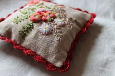 embroidered Pincushion With Crocheted Edge