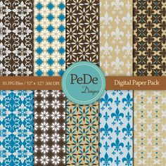 Floral and vintage pattern, digital scrapbook papers, damask, patterns, flowers, blue, brown, printable,