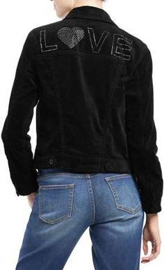 bdd4c4cf3 EV1 from Ellen DeGeneres Women's Velvet Studded Jacket (Black) Studded  Jacket, Ellen Degeneres