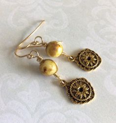 Handmade yellow brass dangle earrings yellow by FrenchiGraceDeux