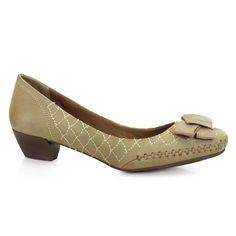 Sapato Scarpin Feminino Salto Baixo Ramarim -Amendoa