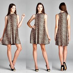 D5196 Loose fit sleeveless mock neck swing dress. Has center back seam. This dress is made with heavyweight leopard print knit jersey that is very soft drapes well and has great stretch. #cherishapparel #cherishusa #fashionista #fashiontop #fashionable #fallfashion #instafashion #instastyle #fashionbuyer #fashionstyle #ootd #fashionable #beautiful #shopcherish #fashion #dress #dresses #swingdress #animalprint http://bit.ly/cherish-D5196