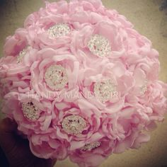 Gorgeous Blush Peony Brooch Bouquet by HandyMandyGirl on Etsy
