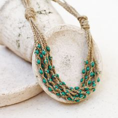 Natural jewelry Layered necklace Green tan by 100crochetnecklaces