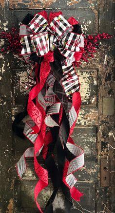 RedGrayWhite Plaid Black Chalkboard Large Christmas Tree Bow Topper /& Red Ribbon