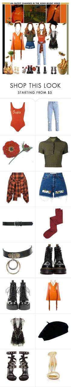 """«OUTFIT CHANGES» XOXO MV [JIA] ROCKIT"" by cw-entertainment ❤ liked on Polyvore featuring Bruna Malucelli, Romeo Gigli, Vivienne Westwood Anglomania, Off-White, M&Co, Intimately Free People, Dr. Martens, Balmain, Alice McCall and ASOS"