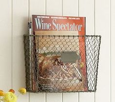 Chicken Wire Wall Organizer-perfect for magazines and cookbooks.