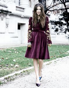 Gorgeous embroidered burgundy coat