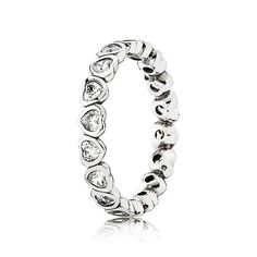 Pandora Sparkling Heart Stacking Ring #Vanletines #Jewellery #ForHer