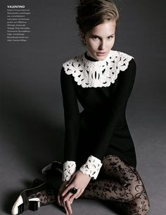 """atropolis: Alla Kostromicheva in """"Back to Black"""" for Elle. Preppy Mode, Preppy Style, My Style, Mode Outfits, Fashion Outfits, Womens Fashion, Ethnic Wear Designer, Vintage Inspired Dresses, White Fashion"""