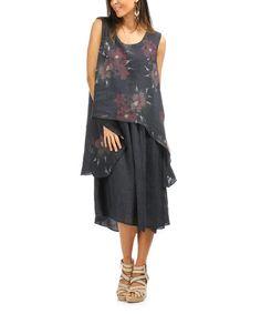 Look at this #zulilyfind! Navy & Burgundy Floral Linen Nana Dress - Women #zulilyfinds
