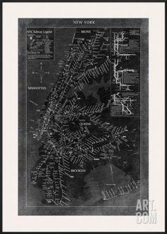 New York Map Pre-made Frame at Art.com