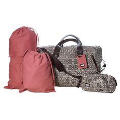 Pink & Brown Luggage Set