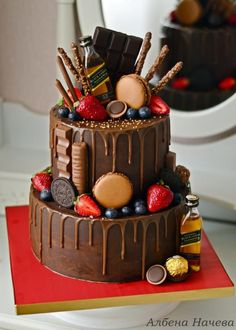 Natural Ganache drip cake by My sweet hobby Chocolate Drip Cake, Chocolate Strawberry Cake, Strawberry Cakes, Chocolate Strawberries, Chocolate Birthday Cakes, Chocolate Vodka, Amazing Wedding Cakes, Amazing Cakes, Birthday Drip Cake