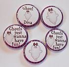 Ghoul Diva Halloween Flatback Pin Back Buttons 1 for Bows Embellishments - Halloween Flatback Pins Embellishments, Diva, Have Fun, Bows, Scrapbook, Buttons, Halloween, Ornaments, Arches