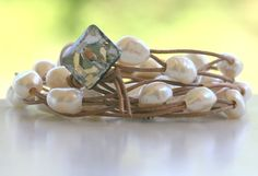 Leather and Pearl wrap bracelet by LibertyOriginals on Etsy