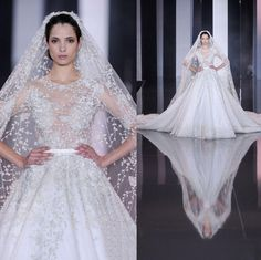 Ralph-russo 2015 New Arrival Fashion Luxury Tulle Wedding Dresses Applique Sheer Crew Neck Illusion Half Sleeve Cathedral Train Bridal Gowns