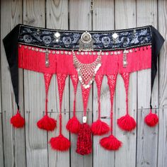 gothic tribal bellydance | Tribal Belly Dance Tassel Belt Goth Grinning Skulls and Blood Red ...