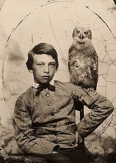 Tintype -Boy with Owl  Abbott Handerson Thayer (1849–1921) was an American artist, naturalist and teacher. As a painter of portraits, figures, animals and landscapes, his paintings are part of the most important U.S. art collections.""