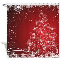 Beautiful Swirl Christmas Tree Shower Curtain    #christmasshowercurtainglam