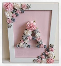 Custom made floral letter with matching frame //baby shower